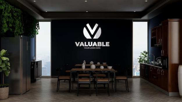 Макет логотипа компании в кладовой офиса