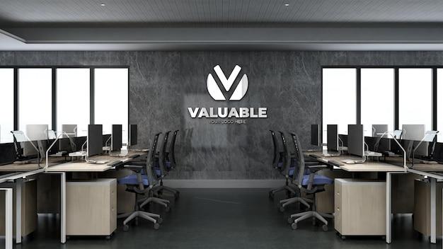 Макет логотипа компании в офисе на рабочем месте
