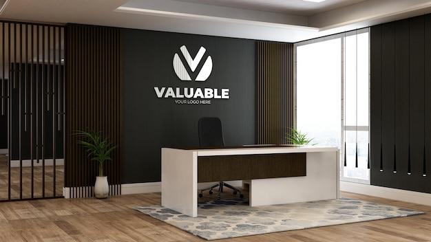 사무실 접수원 또는 프론트 데스크 룸의 회사 로고 모형