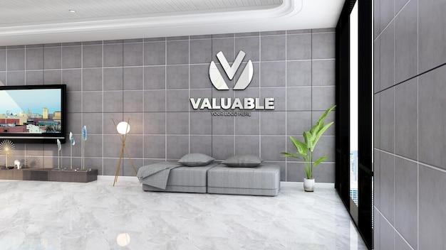 Company logo mockup in the luxury lobby waiting room