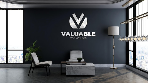 Company logo mockup in office lobby waiting room with table and chair luxury interior design