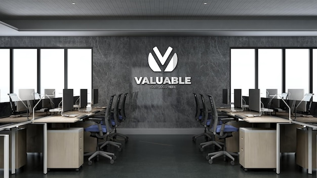 Company logo mockup in the office workplace room