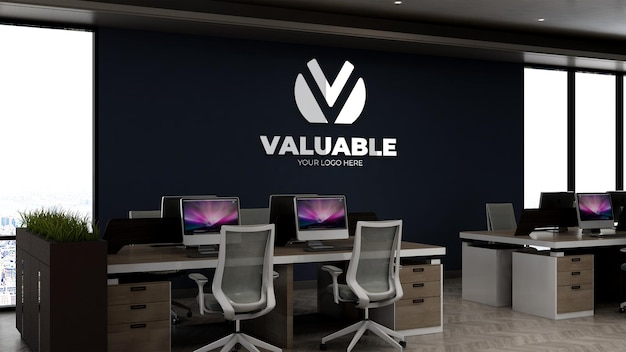 Company logo mockup in office workplace or workspace room