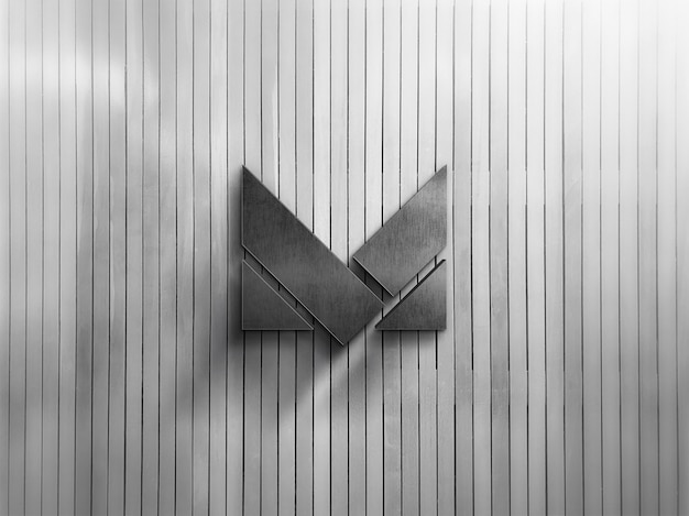 회색 나무 타일 텍스처에 회사 로고 모형