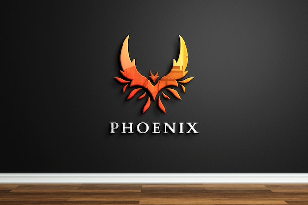 Company logo mockup with reflection on black wall