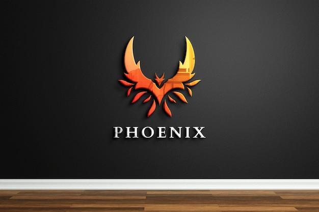 검은 벽에 반사 된 회사 로고 모형