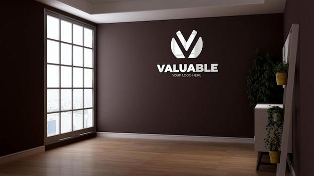 브랜딩 로고를 위한 갈색 벽이 있는 회사 로고 모형