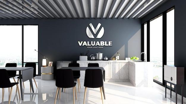 현대 사무실 식료품 저장실 영역에서 회사 사무실 벽 로고 모형