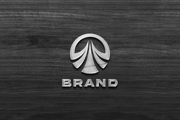 Company sign mockup on wooden wall