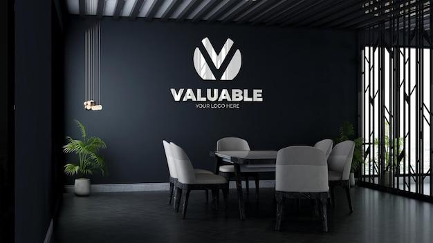 3d макет логотипа на стене компании в конференц-зале бизнес-офиса