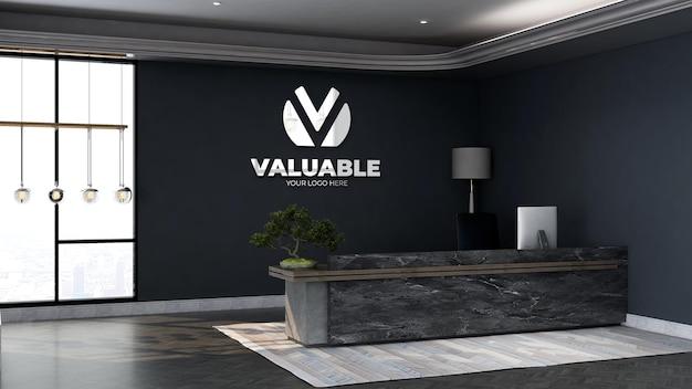 Макет логотипа компании на стене в офисе на стойке регистрации или в приемной