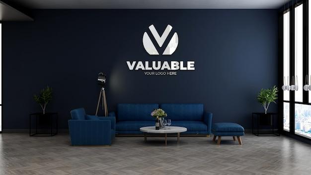 Макет логотипа компании на стене в холле офиса в зале ожидания с синим диваном