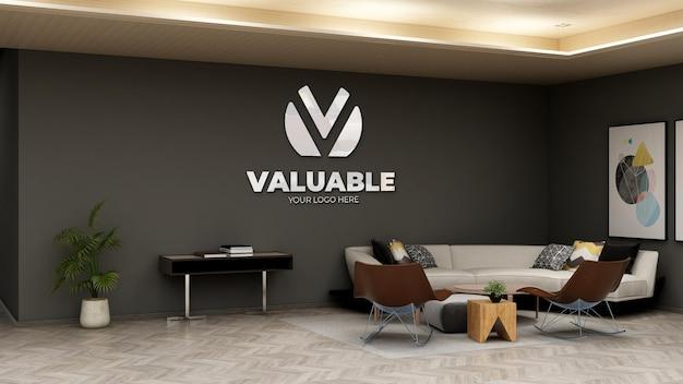 Макет логотипа компании на стене в зале ожидания офиса