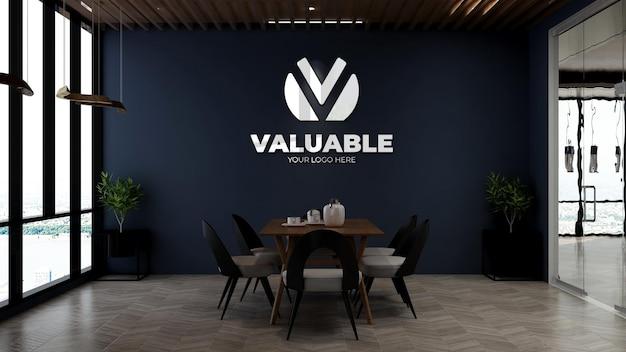사무실 식료품 저장실의 회사 벽 로고 모형