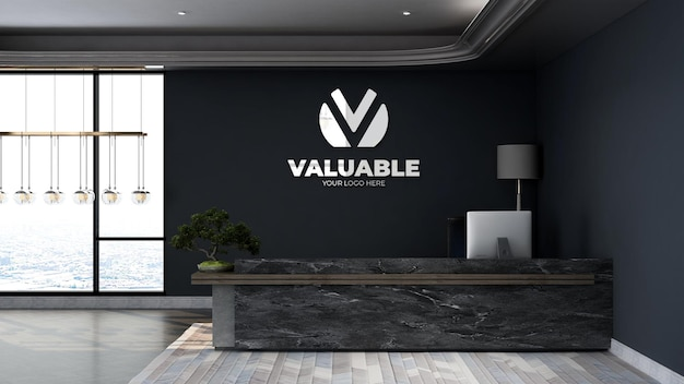 Company wall logo mockup in office front desk or receptionist room