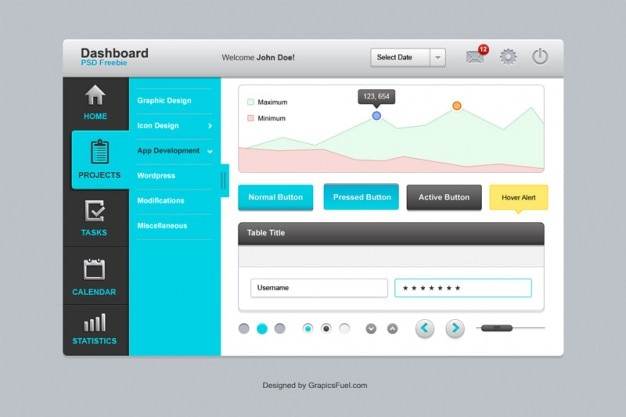 Complete and clear personal dashboard with great elements