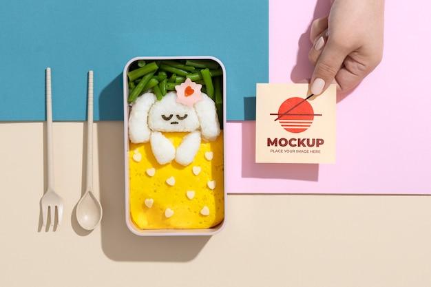 Composizione di bento box con mock-up card