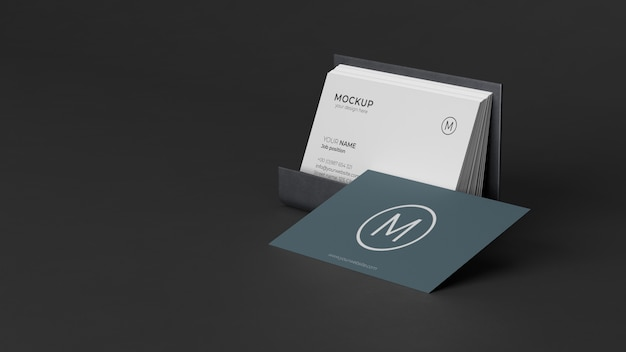 Composition of business card mock-up