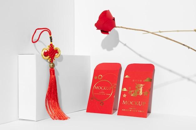 Composizione di elementi di mock-up isometrici del nuovo anno cinese Psd Gratuite