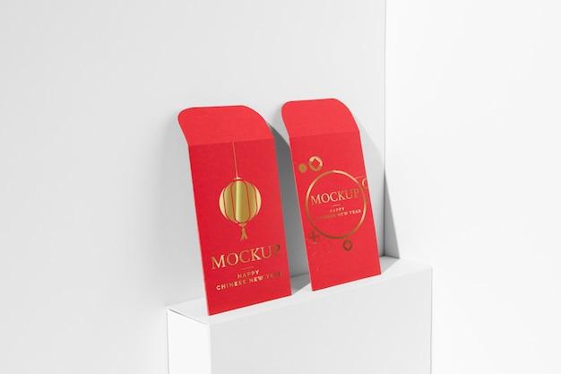 Composizione di elementi di mock-up del capodanno cinese