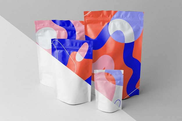Composition of colorful mock-up doypack