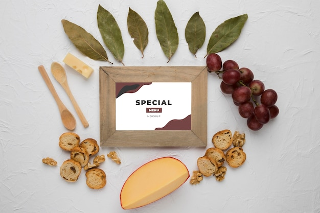 Composition of delicious types of food with frame mock-up
