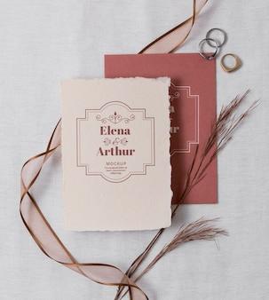 Composition of elegant wedding mock-up cards