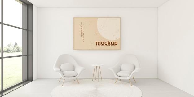 Composizione per interni domestici con cornice mock-up