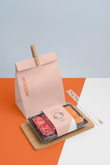 Composition of japanese fast food with mock-up packaging
