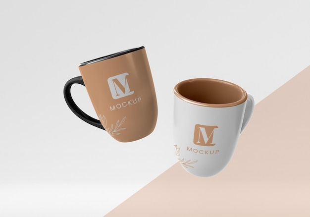 Composition of minimal coffee mugs