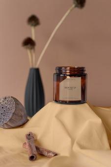 Composizione della confezione di candele mock-up