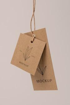 Composizione dell'etichetta di cartone mock-up Psd Gratuite