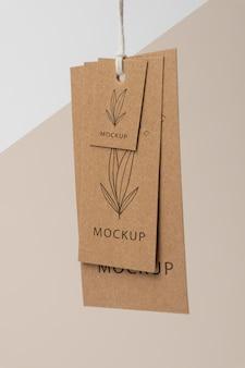 Composition of mock-up cardboard tag