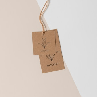 Composition of mock-up cardboard tags