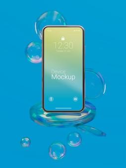 Composizione del dispositivo mock-up con liquidi astratti