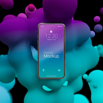Composition of mock-up phone with abstract liquids