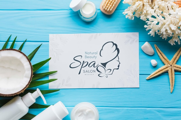 Composition mock-up with spa elements