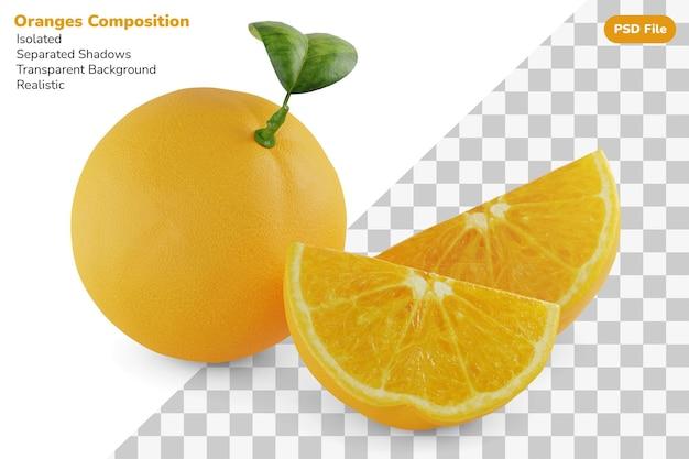 分離された全体と2つのスライスされたカットオレンジの組成