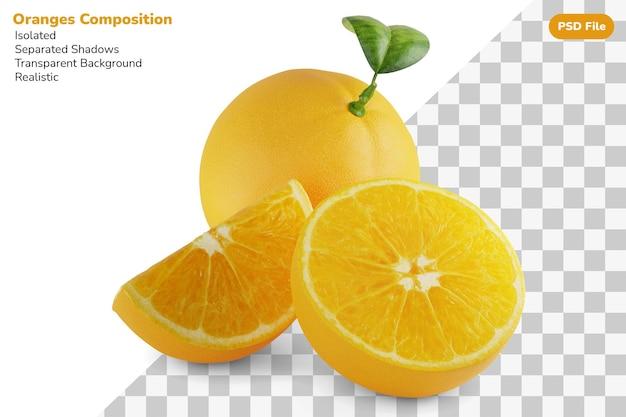 分離された新鮮なオレンジの全体、半分のスライス、カットの構成