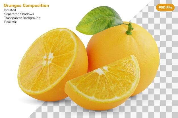 Композиция из целого, нарезанного наполовину и нарезанного апельсина изолированного