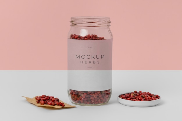 Composition of spices with label mock-up
