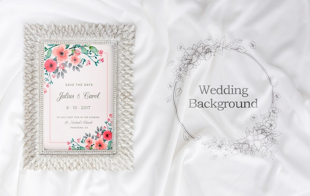 Composition of wedding elements with frame mock-up
