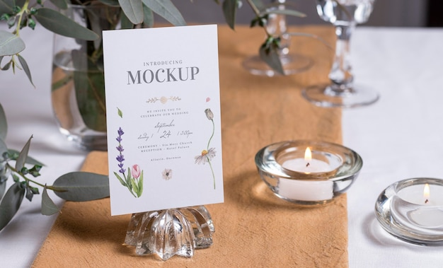 Composition of wedding mock-up cards