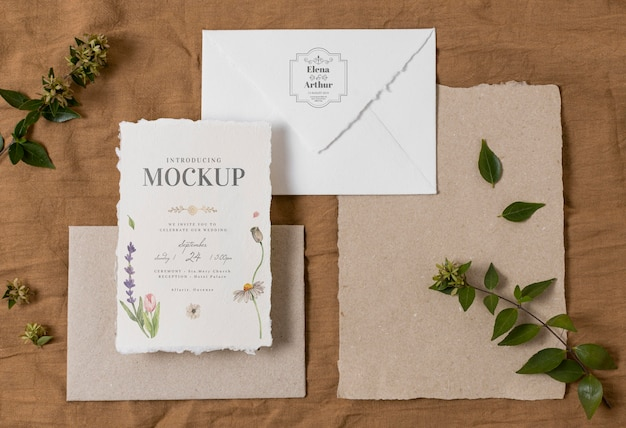 Composizione di carte mock-up di nozze