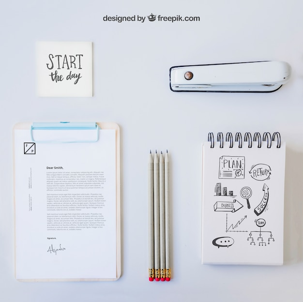 Composition of white office desk