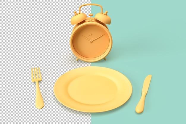 Композиция с будильником, тарелкой и посудой