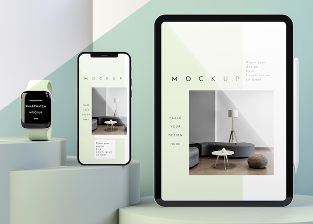 Composition with modern devices mock-up