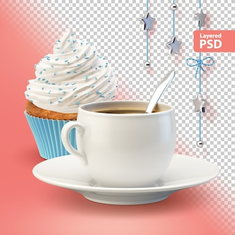 Composition with white coffee cup and cupcake