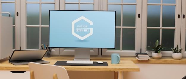 홈 오피스 3d 렌더링 창 옆에 나무 테이블에 컴퓨터와 노트북