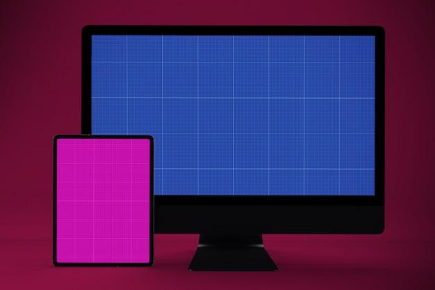 コンピューターとタブレットのモックアップ